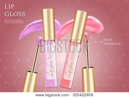 Lip Gloss, New Formula Horizontal Banner With Copy Space. Makeup Tubes Of Pink And Purple Lipstick W