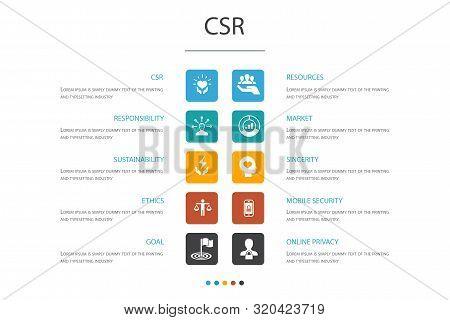 Csr Infographic 10 Option Concept.responsibility, Sustainability, Ethics, Goal Icons