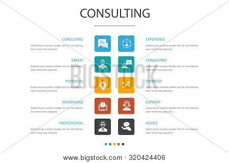 Consulting Infographic 10 Option Concept.expert, Knowledge, Experience, Consultant Icons