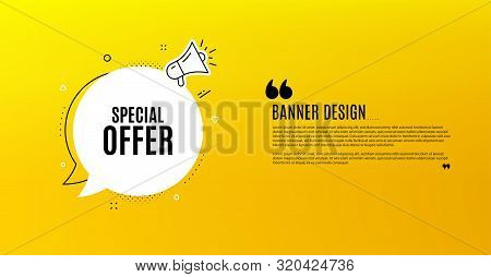 Special Offer Symbol. Yellow Banner With Chat Bubble. Sale Sign. Advertising Discounts Symbol. Coupo