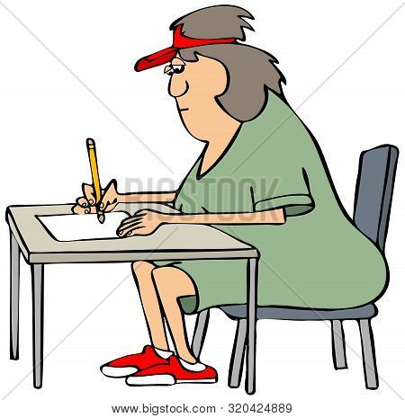 Illustration Of A Woman Wearing A Visor Sitting At A Small Table And Writing On A Sheet Of Paper.