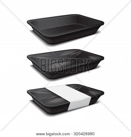 Styrofoam Food Storage. Black Food Plastic Tray, Dark Foam Meal Container, Empty Box Set For Food Ve