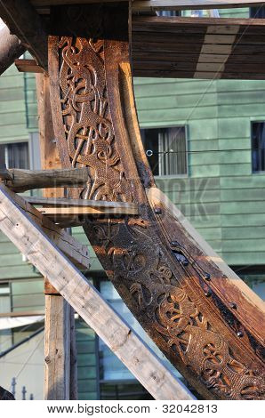 Detail of a viking ship, Tonsberg, Norway