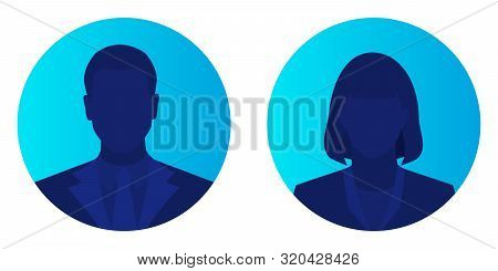 Male And Female Face Avatars, Man And Woman Silhouette Heads In Profile Icon On Blue Brightly Backgr