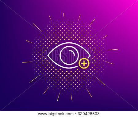 Farsightedness Line Icon. Halftone Pattern. Eye Diopter Sign. Optometry Vision Symbol. Gradient Back