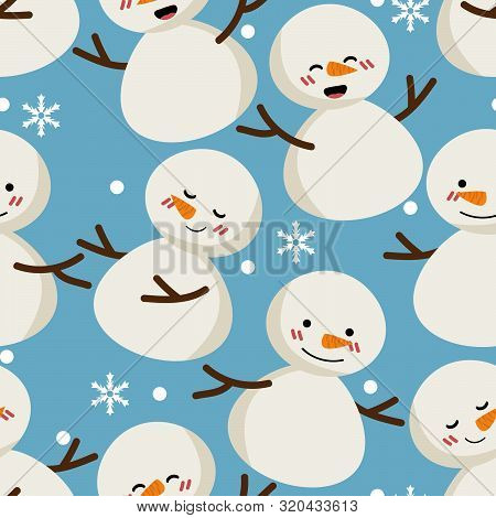 Snowman And Snowflakes Seamless Pattern. Cute Christmas Holidays Seamless Pattern. Design For Greeti