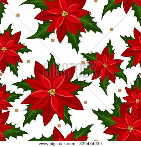 Red Poinsettia Christmas Flowers Seamless Pattern On White Background. Cute Christmas Holidays Seaml