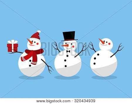 Set Of Snowman For Christmas Holiday Season. Cute Cartoon Character. Design For Xmas Holiday. Vector