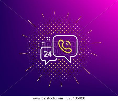 24 Hour Service Line Icon. Halftone Pattern. Call Support Sign. Feedback Chat Symbol. Gradient Backg
