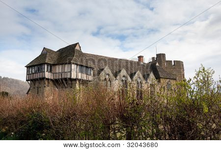 Stokesay Castle In Shropshire Surrounded By Hedge