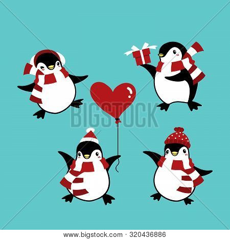 Set Of Penguins In Winter Custom For Christmas Holiday Season. Cute Cartoon Character Cute Christmas