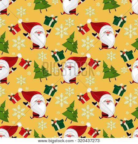 Christmas Holiday Season Background Of Santa Claus With Gift Box, Snowflakes And Pine Tree Seamless