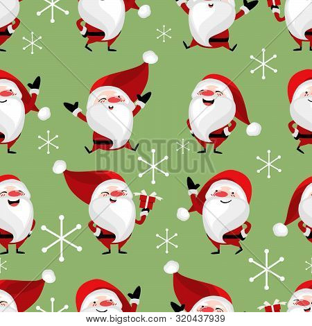Santa Claus With Snowflakes Seamless Pattern. Cute Christmas Holidays Cartoon Character Background.