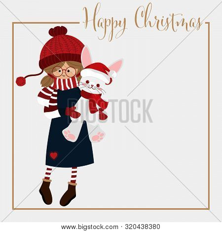 Christmas Holiday Season Background With Cute Girl In Winter Custom Holding Cute Rabbit Doll And Hap