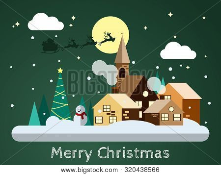 Vector Illustration Of Santa Claus On The Sky Coming To Snowing Urban Landscape In Flat Design With