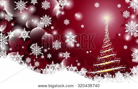 Christmas Background With Blurry Smooth Glowing Waves Abstract Christmas Tree And Snow Flack On Red