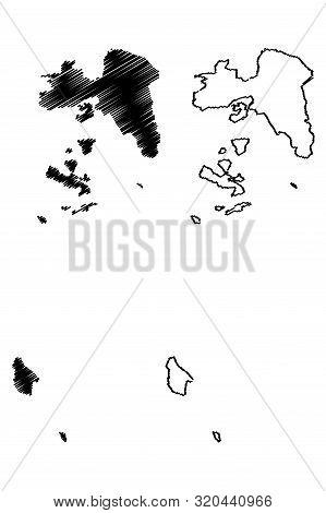 Attica Region (greece, Hellenic Republic, Hellas) Map Vector Illustration, Scribble Sketch Attica Ma
