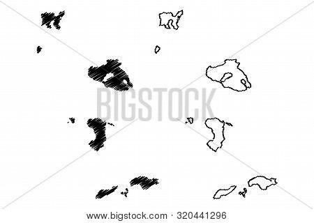 North Aegean Region (greece, Hellenic Republic, Hellas) Map Vector Illustration, Scribble Sketch Nor