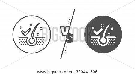 Dandruff Shampoo Sign. Versus Concept. Anti-dandruff Flakes Line Icon. Clean Hair Symbol. Line Vs Cl