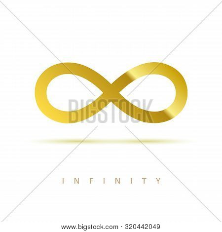 Golden Infinity Symbol On White Background Vector Illustration Eps10