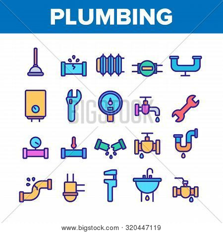 Collection Plumbing Fixtures Vector Icons Set Thin Line. Faucet And Mixer, Valve And Sink, Pipe Tube