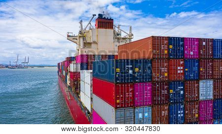 Container Ship Carrying Container For Business Freight Import And Export, Aerial View Container Ship