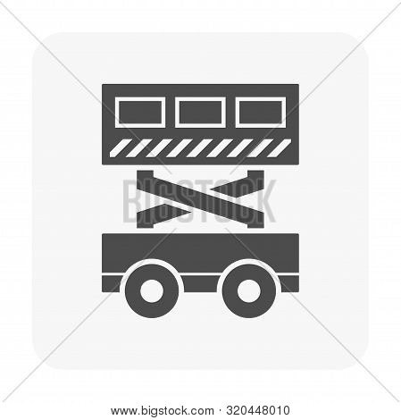 Scissor Lift Vector Icon Design On White Background.