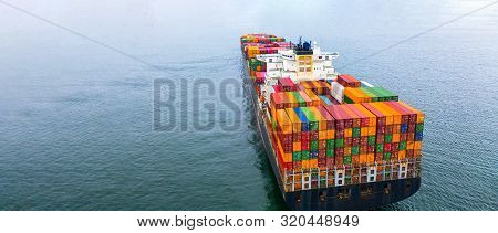 Container Ship Carrying Container, Business Shipping Import And Export Logistic And Transportation O