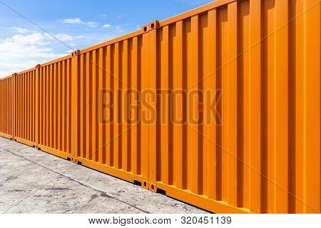 Orange Cargo Container Shipping Background, Texture And Background Cargo Container.