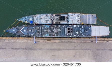 Military Navy Ship In The Port, Aerial View Warship.