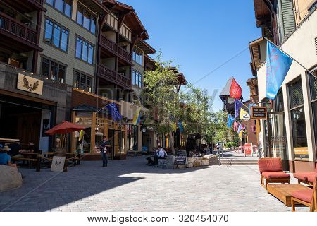 Mammoth Lakes, California - July 12, 2019: View Of The Village At Mammoth Lakes, A Pedestrain Friend