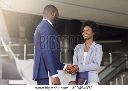 Nice To Meet You. Two Young African American Business People Introducing Outdoors, Copy Space