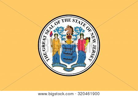 Flag Of New Jersey Is A State Of United States. Vector Illustration