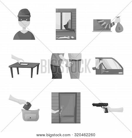 Vector Illustration Of Pickpocket And Fraud Icon. Collection Of Pickpocket And Steal Stock Symbol Fo
