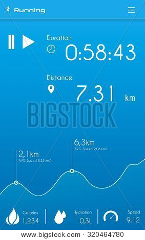 Graphic Of Runners Application For Smartphone Screen