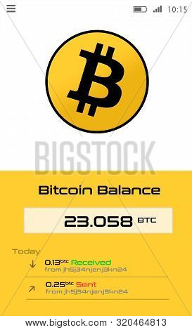 Crypto Currency Wallet Application For Smartphone Screen Showing Bitcoin Balance