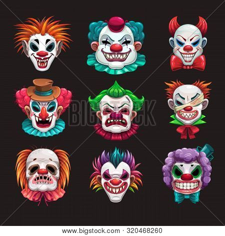 Creepy Clown Faces Set. Scary Circus Elements.