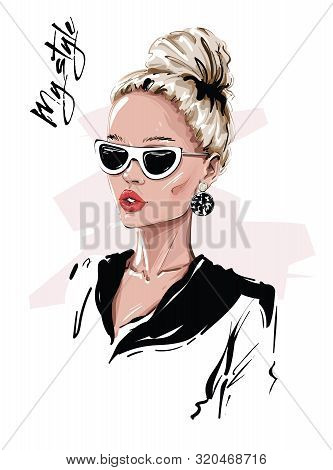 Hand Drawn Beautiful Young Blonde Hair Woman In Sunglasses. Stylish Girl With Bun Hairstyle. Fashion