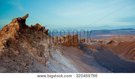 Sunrise At Valle De La Luna (moon Valley), San Pedro De Atacama (chile). Wide View Of Stunning Sun R