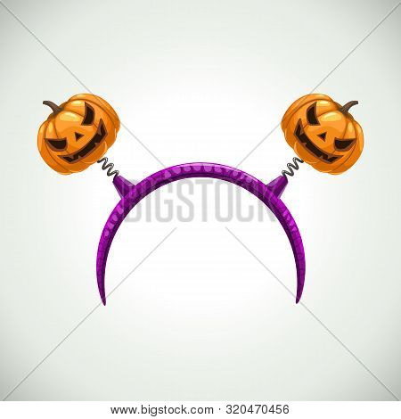 Hairband With Pumpkins, Head Band Decor. Vector Halloween Element.