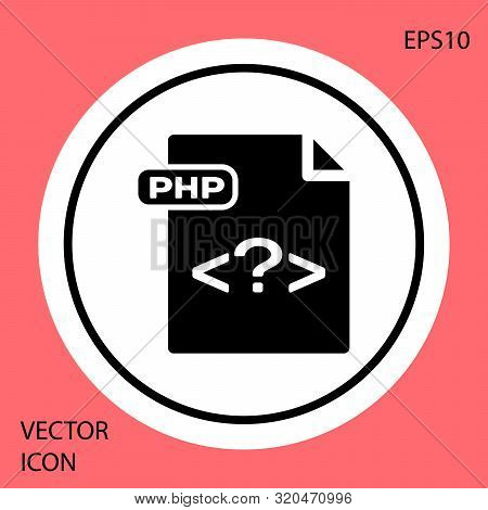 Black Php File Document. Download Php Button Icon Isolated On Red Background. Php File Symbol. White