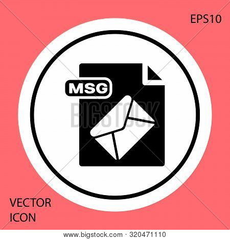 Black Msg File Document. Download Msg Button Icon Isolated On Red Background. Msg File Symbol. White