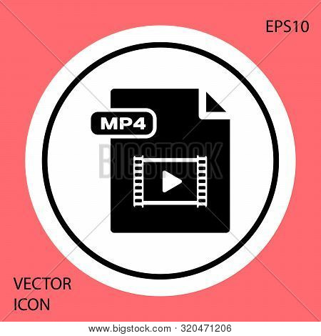 Black Mp4 File Document. Download Mp4 Button Icon Isolated On Red Background. Mp4 File Symbol. White