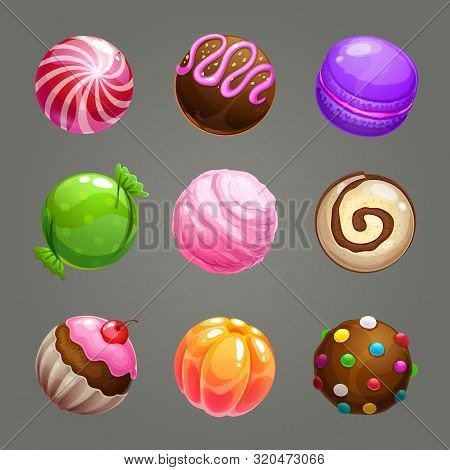Candy Balls Set. Round Sweet Assets For Game Design.