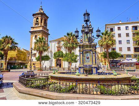 Algeciras, Spain - June 29, 2019. Plaza Alta Square Of Algeciras, With The Nuestra Senora De La Palm