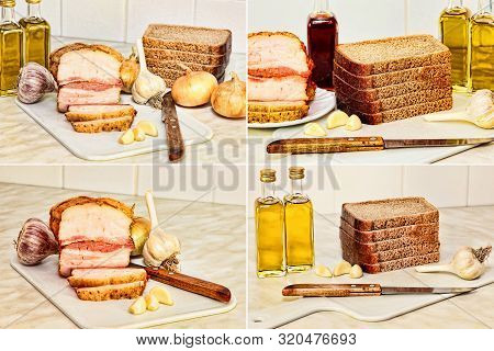Food Collage. Sliced Bacon, bread And Olive Oil On Kitchen Table. Toned Image.