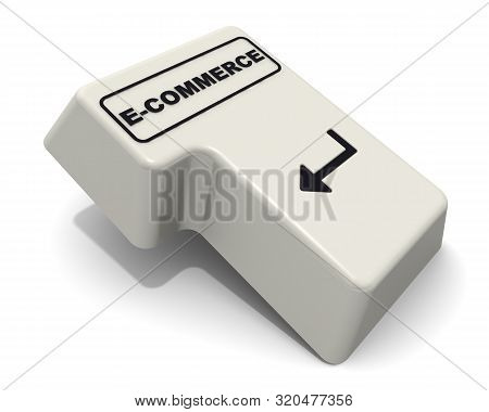 The Enter Key Labeled E-commerce Word. Computer Enter Key With Black Word E-commerce Isolated On Whi