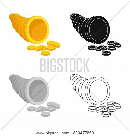 Vector Design Of Cornucopia And Money Logo. Collection Of Cornucopia And Gold Stock Vector Illustrat