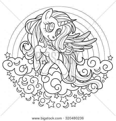 Black Line Cute Rainbow Unicorn For Coloring Book Or Page. Black And White.  Beautiful Pony Princess