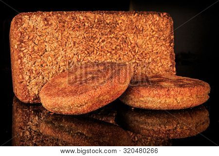Closeup Rectangular Ray Bread With And Two Roasted Flapjacks